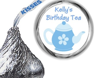108 Blue Tea Hershey's Kiss Birthday Party Labels