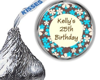 216 Blue and Brown Birthday Party Hershey's Kiss Labels