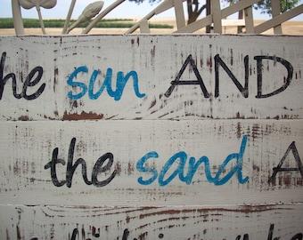 Beach Sign / Rustic Wood Sign / Coastal Decor / Party Sign