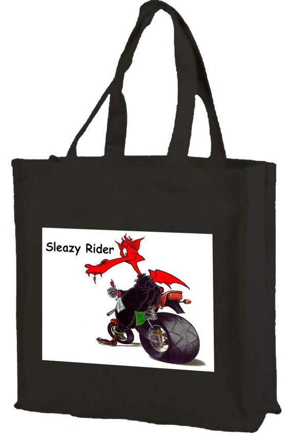 Sleazy Rider Welsh Dragon Cotton Shopping Bag with gusset and long handles, 3 colour options