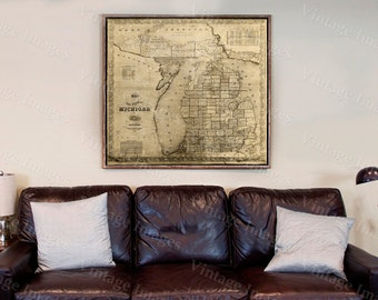 old michigan map, vintage 1856 old map of Michigan Old Antique Restoration Hardware Style wall Map, Lake Michigan map. Fine michigan Art Map