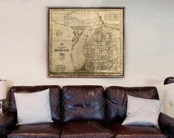 Vintage Michigan map, vintage 1856 old map of Michigan, Old Antique Restoration Hardware Style wall Map, Lake Michigan map. Fine Art Map