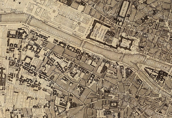 15% OFF coupon on Old Map Vintage Paris City Plan, Map of Paris 1860 ...