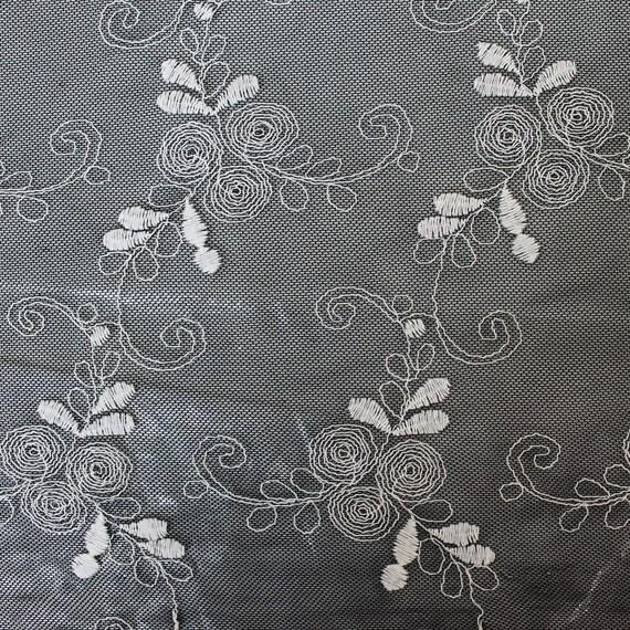 Hairline Vine BlackIvory Cotton Nylon Embroidery Lace Fabric