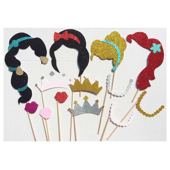 Fabulous Disney Princess Birthday Party Photo Booth Props on a Stick  VU76