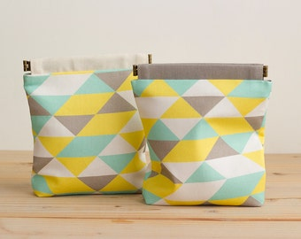 Charger cases camera cases make up pouches ditty bags / Aqua Triangles