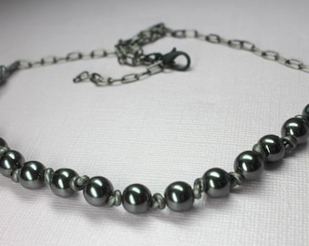 Black Hematite Necklace, Black Beaded Necklace, Hand Knotted Leather Necklace, Energy Protection Stone, Mens Necklace