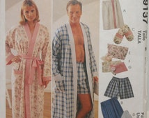 McCall's 9137, Sewing Pattern Misses Robe, Sewing Pattern Men's Robe, Sleeping Shorts, Sewing Pattern Wrap Robe, Size Tall XL and XXL, UNCUT