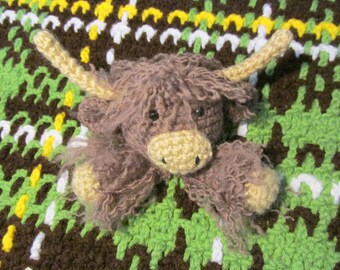 Highland Cow Lovey PDF Crochet Pattern INSTANT DOWNLOAD