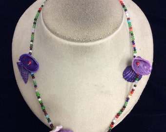 Vintage Colorful Glass Beaded & Shell Necklace