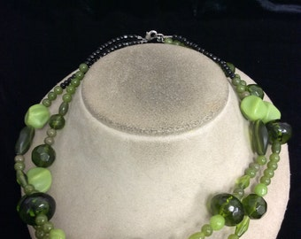 Vintage Double Stranded Black & Shades Of Green Glass Plastic Beaded Necklace