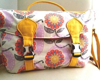 Sunshine Flowers Large Camera Bag // Large wipe clean camera bag // DSLR camera satchel