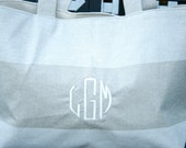 Linen and Cloud White Cabana Beach Tote- Custom Made to Order