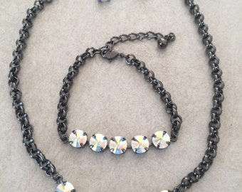 Swarovski crystal set. Necklace bracelet and earring.  Can do different colors!