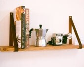 Leather Strap Hanging Wooden Shelf