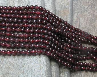 4 mm Garnet Beads, full strand - Item B0059
