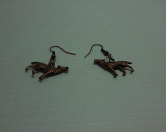 Copper Wolf earrings/Wolf earrings/fish hook posts