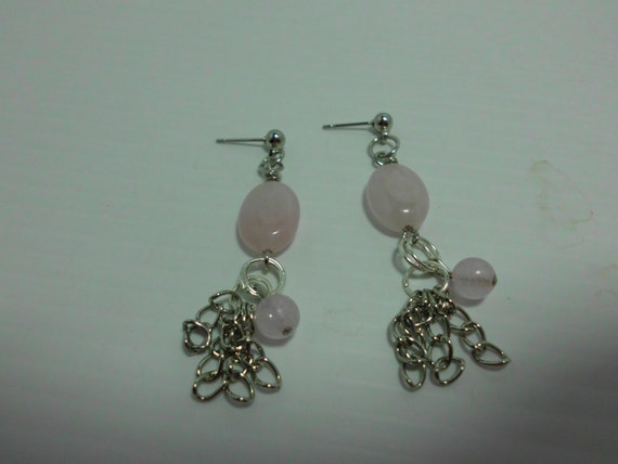 Rose Earrings Etsy Rose Quartz Earrings/silver