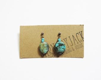 Turquoise Pendant Earrings // Semi Precious Stone Earrings // Vintage Jewelry