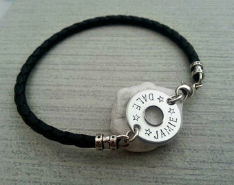 Man's leather bracelet with a hand stamped small sterling silver washer, personalised keepsake jewellery
