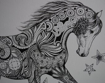 Horse Zentangle Etsy