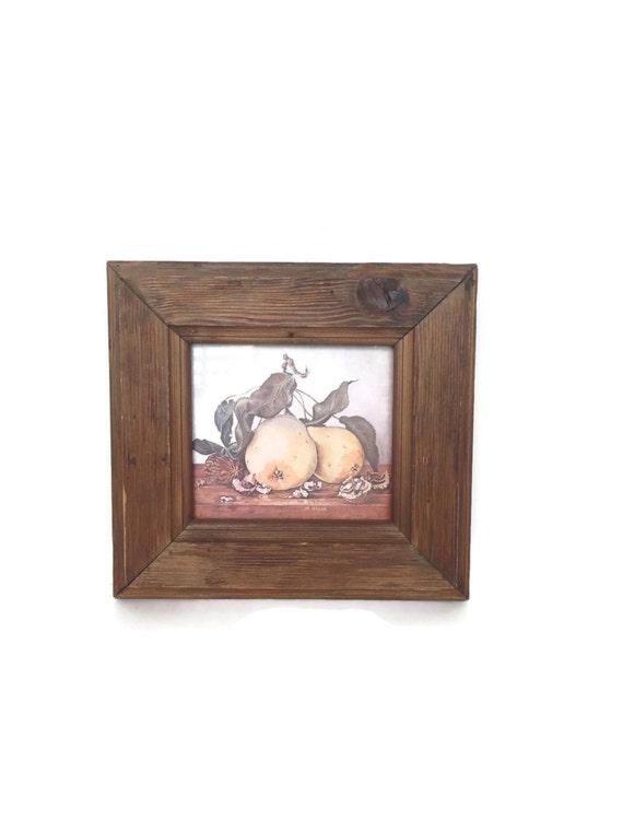 Vintage folk art wood frame with picture handmade repurposed ephemera