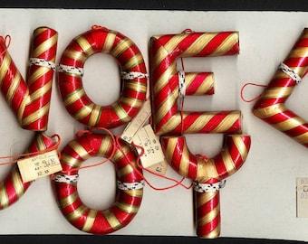 Vintage Christmas Japan Large Noel and Joy Letter Ornaments Salesman Samples on Card