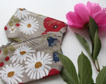 "Linen Cosmetic Bag ""Summer Flowers"""