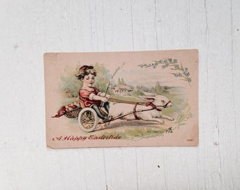 Easter Greetings Vintage Postcard 1910's Victorian Era