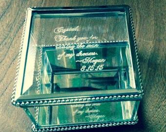 bridesmaid gift, glass box, engraved box,  personalized glass box, jewelry box, keepsake box, jewelry holder,