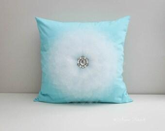 Aqua Pillow Nursery Pillow Aqua Decor Pillow Cover Decorative Pillows Cushions Cover Aqua and White Flower Pillow Accent Pillow  Room Decor