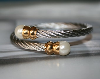 Stainless steel double pearl bangle bracelet