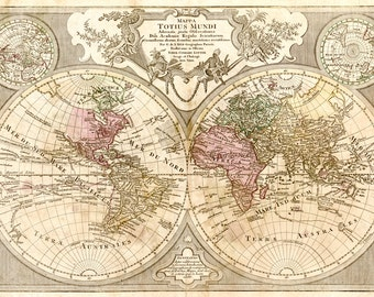 Antique world map. World map poster. World map art print. Vintage world map made in 1724. Home decor. Interior decor.