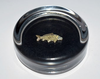Common Carp Fish Glass Paperweight. Gift Boxed Fishing Gift
