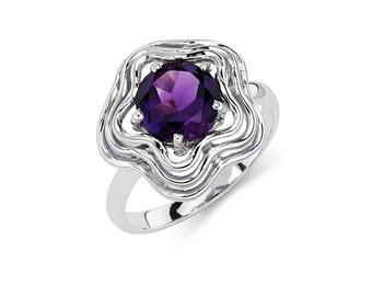 14K White Gold Circle Amethyst Ring, Amethyst Ring, Gold Ring, Fancy Ring, Fancy Jewelry, Amethyst Jewelry, Gold Jewelry, Amethyst