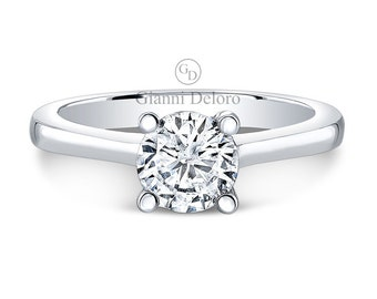 Solitaire Engagement Ring 6.5mm Round Cut Forever Brilliant Moissanite and 0.03 ct.tw Round Diamonds