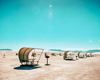 Retro Whitesands Vinage Picnic Tables White Sands National Mounument New Mexico Landscape Photography