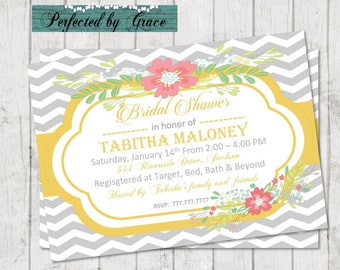 Printable DIY Grey Chevron and Yellow Bridal Shower invitation with flowers