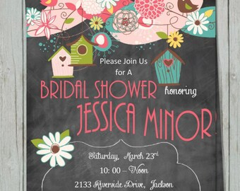 Printable DIY Bridal Shower with Chalkboard and Birds and Birdhouses Customizable