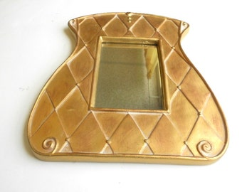 "9""H, Wall Mirror, Gold Mirror, Decorative Wall Mirror, Gold Frame Mirror,Purse Design Mirror, Bathroom Mirror, , Item GLM 7008"