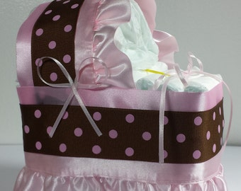 Pink Brown/Black Diaper Bassinet Baby Shower Gift Table Decoration Centerpiece