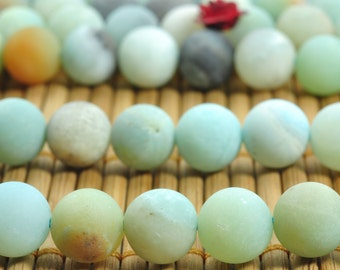 47 pcs of Natural Amazonite matte round beads in 8mm (08673#)
