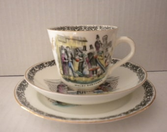 Vintage Welsh Costumes Cup and Saucer Set