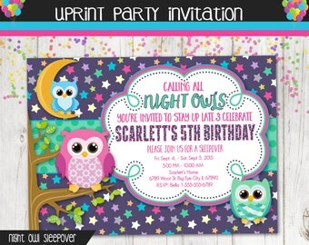 Night Owl Sleep Over Birthday Party Invitation - Slumber Party