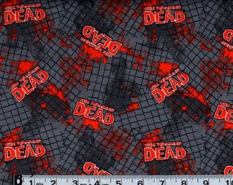 """Walking Dead Fence with Zombies Flannel Fabric End of Bolt Sale 34""""  #105"""