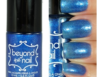 Blue Oyster - Sheer Blue Jelly Nail Polish with Blue Flakies