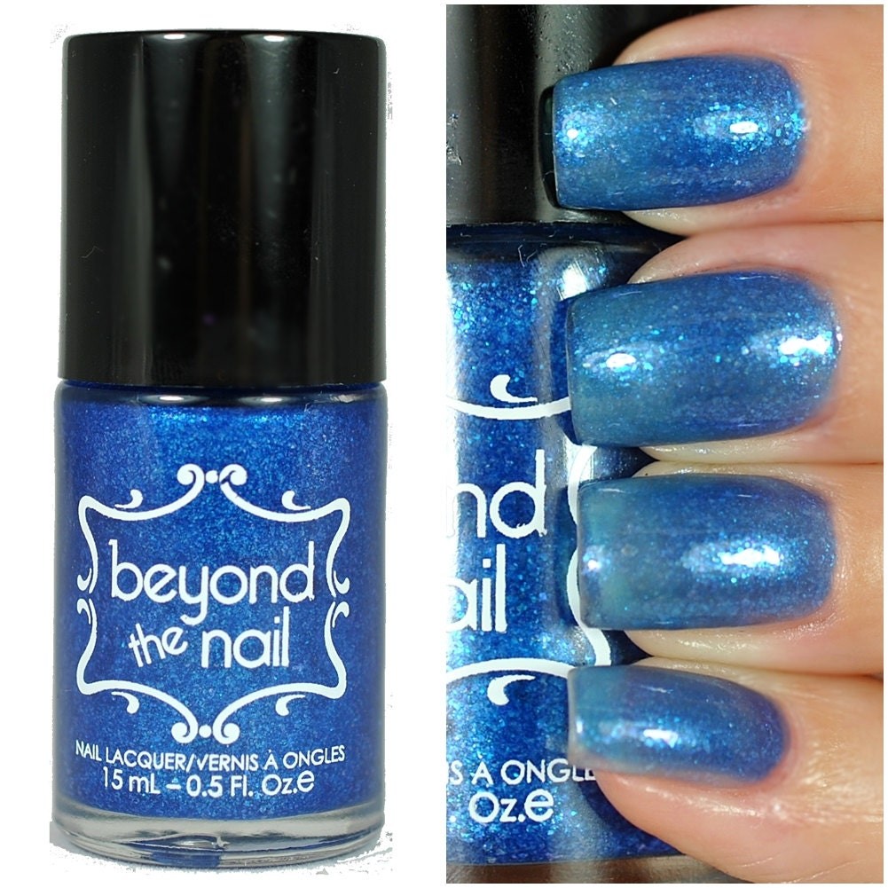 Blue Oyster Sheer Blue Jelly Nail Polish With Blue Flakies