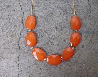 Orange Necklace -Orange Chunky  Necklace - Statement Necklace-Orange weddings-Orange bridesmaids necklace