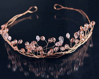 Rose Gold Wire Tiara, Crystal Bridal Wreath, Twisted Wire Crown, Crystal Hair Wreath, Wire Bridal Crown, Wire Wedding Tiara, Crystal Crown