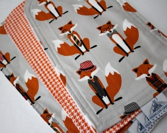 Fox and Houndstooth in Gray Burp Cloths - Burp Pads, Cotton and Chenille - Shower Gift, Argyle, Bowtie, Orange, Black, Mustache